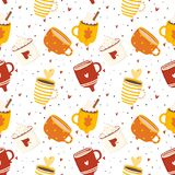 Autumn romantic seamless pattern with cute cups vector illustration
