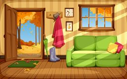 Autumn room interior. Vector illustration. royalty free illustration