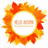 Autumn round frame with hand drawn golden leaves Stock Images