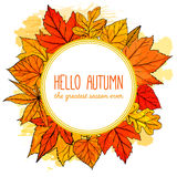 Autumn round frame with hand drawn golden leaves Stock Photo