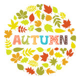 Autumn. Round frame with leaves. Background with hand drawn autu Royalty Free Stock Photo