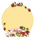 """Autumn round frame with mushrooms, cranberries. And artistic written word """"Autumn"""". Raster background with free space for text Stock Photos"""