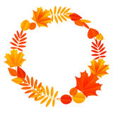 Autumn round frame Stock Photo