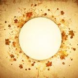 Autumn Round Grunge Frame. Autumn Round Grunge Vintage Frame With Copyspace Vector Illustration