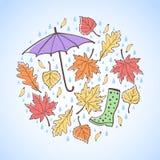 Autumn round illustration with leaves, raindrops, umbrella. Autumn round illustration, design element. Circle shape. Maple, poplar, oak leaves, seeds, raindrops Royalty Free Stock Image