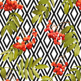 Autumn Rowan Berry Background - Geometric Vintage Seamless Pattern Stock Photo