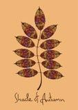 Autumn rowan leaf made of mosaic Stock Images