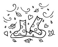Autumn rubber boots black outline doodle sketch drawing wind and rain royalty free stock image