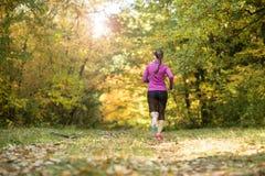 Autumn runner. Woman runner running in autumn leaves training exercise Stock Photo