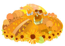 Autumn-rural. Autumn landscape with trees, gardens and houses Stock Photography