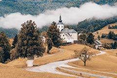 Autumn in rural countryside, Slovenia. Fall colors,season change and weather concept stock photo