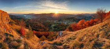 Autumn rural forestl landscape at sunset Royalty Free Stock Photography