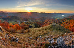 Autumn rural forestl landscape at sunset Stock Photography