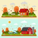 Autumn rural landscape. Flat design vector autumn landscape illustrations with farm building, house, bench, fountain, rain, puddles, leaf fall, tractor. Farming Stock Photo