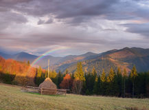 Autumn rural landscape with haystacks Stock Photos