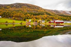 Autumn rural landscape with houses near river, Norway Stock Images