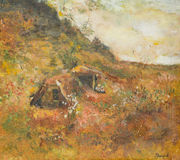 Autumn rural landscape, oil painting Stock Photography