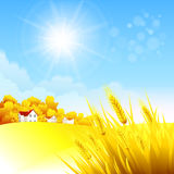 Autumn rural landscape. Vector illustration Stock Photography