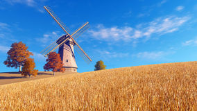 Autumn rural landscape with windmill stock illustration