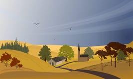 Autumn Rural-Landschaft mit einem Dorf und Hügeln mit Bäumen Regen, Herbsthimmel lizenzfreie abbildung