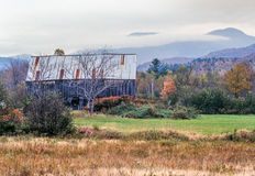 Autumn in rural Maine on foggy day Stock Photos