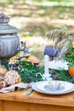 Autumn russian tea party whith tea urn Royalty Free Stock Photo