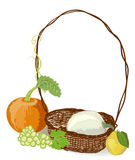 Autumn rustic basket Royalty Free Stock Photo