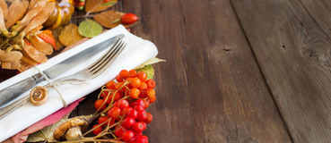 Autumn rustic table setting Stock Photo