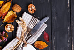 Autumn rustic table setting Royalty Free Stock Images