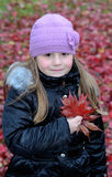 Autumn's vertical portrait of a young girl Stock Photos