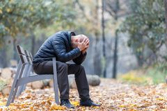 Free Autumn Sadness And Depression In The Park Royalty Free Stock Image - 131447936