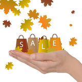 Autumn sale. Female hand with shopping bags and leaves, autumn sale concept Royalty Free Stock Image