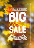 Autumn sale. Advertisement about the autumn sale on defocused background with leaves. Vector illustration Royalty Free Stock Photos