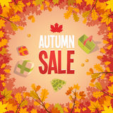 Autumn sale advertising poster. In a frame of leaves Stock Photos