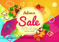 Autumn Sale Background royaltyfri illustrationer