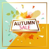 Autumn sale background. Abstract vector background with leaves for seasonal autumn sale. Shining banner in retro style Royalty Free Stock Photo