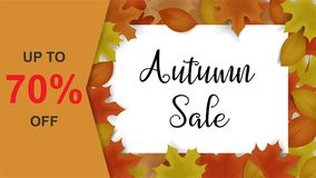 Autumn sale background decor with autumn maple leaves and frame. For brochure, leaflet, poster, banner. sale up to 70% off. Vector illustration EPS10 Stock Photos