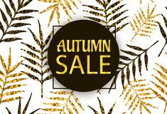 Autumn Sale background with gold text and creative leaves. Vector illustration vector illustration