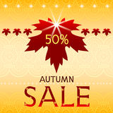 Autumn sale background with maple leaf. Stock Photos