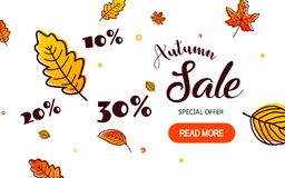 Autumn Sale Background med fallande Autumn Leaves vektor illustrationer
