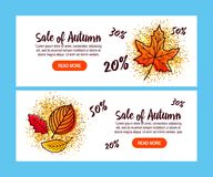 Autumn Sale Background med fallande Autumn Leaves royaltyfri illustrationer