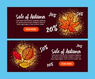 Autumn Sale Background med fallande Autumn Leaves stock illustrationer