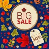 Autumn Sale Background mit fallendem Autumn Leaves Stockfotos