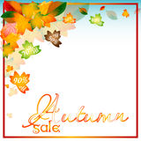 Autumn sale background with orange leaves Stock Image