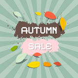 Autumn Sale Background. Retro Vector Autumn Sale Background with Leaves Vector Illustration