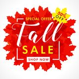 Bright banner for fall sale with text 50% off special offer in frame from red maple leaves. Autumn sale background, shop now for promotion poster or flyer design Royalty Free Illustration