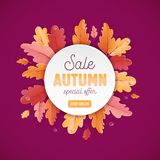Autumn Sale Background Template avec la belle illustration de feuilles en vente de achat, affiche de promotion et bannière de Web Image libre de droits