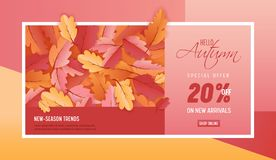 Autumn Sale Background Template avec la belle illustration de feuilles en vente de achat, bon, bannière de Web de promotion Image stock
