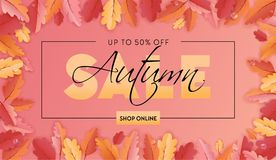 Autumn Sale Background Template avec la belle illustration de feuilles en vente de achat, bon, bannière de Web de promotion Photo stock