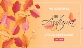 Autumn Sale Background Template avec la belle illustration de feuilles en vente de achat, bon, bannière de Web de promotion Illustration Libre de Droits